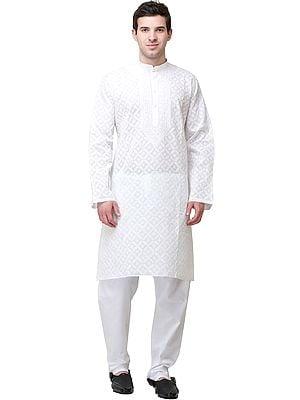 Ivory Casual Kurta Pajama Set with Lukhnavi Chikan Embroidery