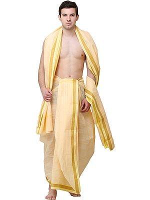 Golden-Fleece Plain Dhoti and Angavastram Set with Woven Stripes and Border