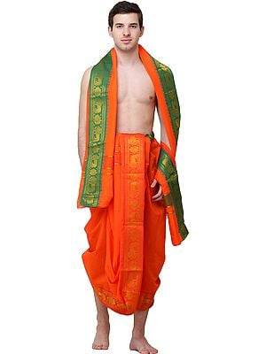 Spicy-Orange Dhoti and Angavastram Set with Zari-Woven Lions on Green Border