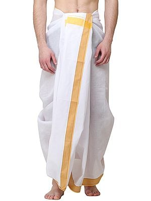 Lily-White Dhoti with Woven Yellow Striped Border