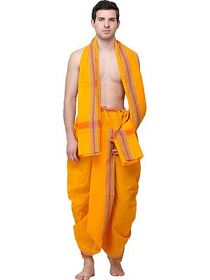 Plain Dhoti and Angavastram Set with Woven Multicolor Stripes (Ready to Wear)