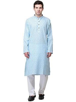 Sky-Blue Casual Kurta Pajama Set with Printed Leaves and Bootis
