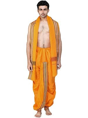 Ready to Wear Dhoti and Angavastram Set with Woven Floral and Bootis on Border