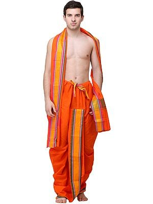 Vermillion Dhoti and Angavastram Set with Horse Cart and Florals Woven in Zari Thread