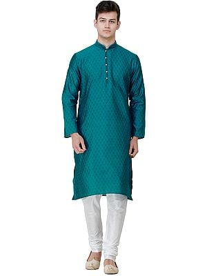 Wedding Kurta Pajama Set with Jacquard Woven Bootis All-Over