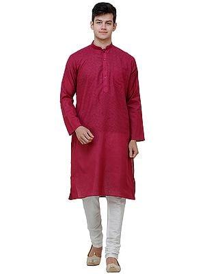 Casual Kurta Pajama Set with Zero Checks in Weave