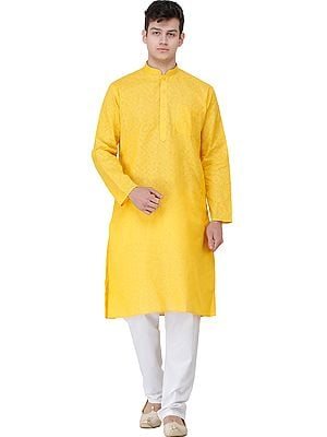 Casual Kurta Pajama Set with Zero Checks in Weave