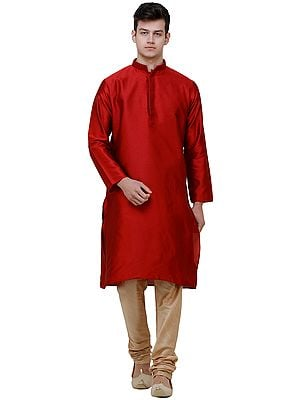 Wedding Kurta Pajama Set with Embroidered Collar and Jacquard Woven Paan Leaves
