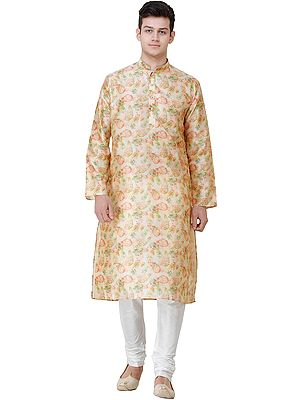 Sahara-Sun Bhadralok Kurta Pajama Set with Printed Paisleys