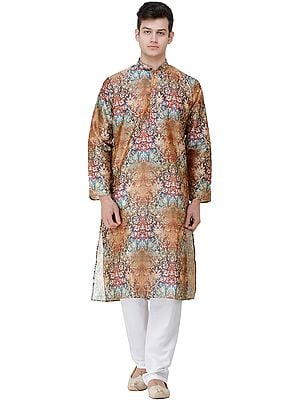 Partridge-Brown Wedding Kurta Pajama Set with Oriental Print