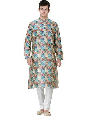 Niagara-Blue Digital Printed Wedding Kurta Pajama Set