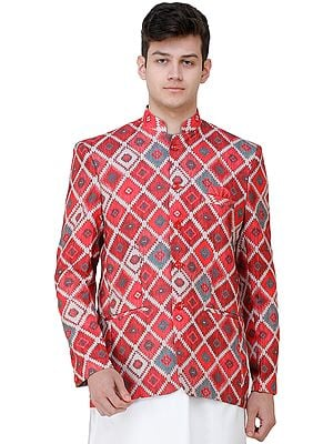 Garnet-Rose Digital-Printed Wedding Blazer