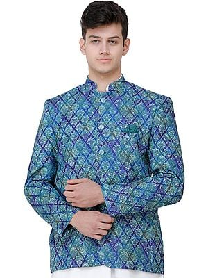 Clematis-Blue Blazer with Printed Mughal Motifs
