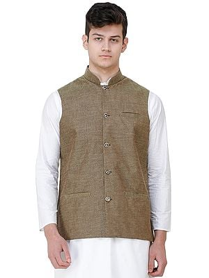 Waistcoat with Diamond Weave and Front Pockets