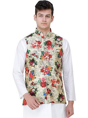 Wedding Waistcoat with Digital-Printed Florals All-Over