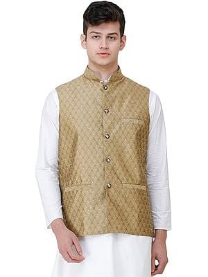 Wedding Waistcoat with Jacquard Woven Bootis All-Over and Front Pockets
