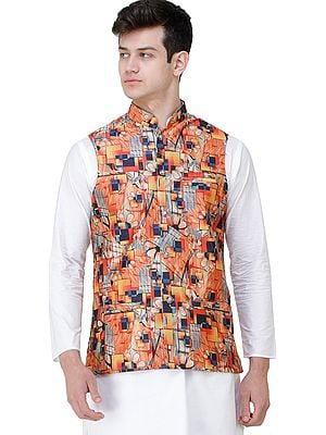 Flamingo Waistcoat with Digital-Prints All-Over and Front Pockets