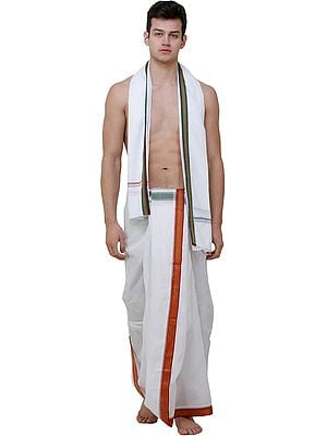 Bright-White Dhoti and Veshti Set with Woven Temple Border