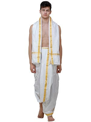 Snow-White Dhoti and Veshti Set with Zari Woven Border