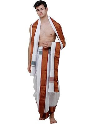 Egret-White Dhoti and Veshti Set with Woven Temple Border