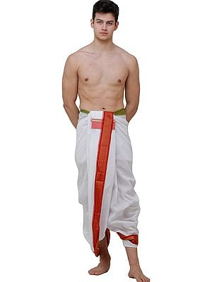 White Dhoti with Woven Bomkai Border