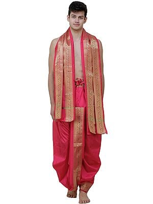 Ready to Wear Dhoti and Angavastram Set with Meenakari Woven Golden Border