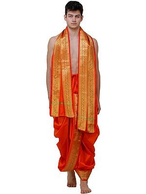Ready to Wear Dhoti and Angavastram Set with Meenakari Woven Golden Border