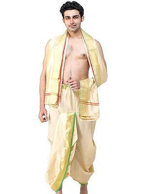 Ready to Wear Dhoti and Angavastram Set with Woven Golden Leaves Border