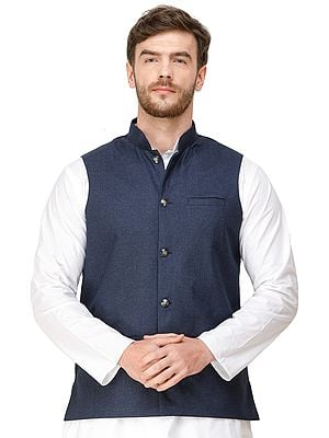 Waistcoat with Woven Diagonal Stripes and Front Pockets