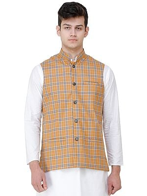 Nehru Jacket with Double Check Pattern and Front Pockets