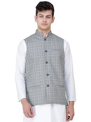 Waistcoat with Double Check Pattern and Front Pockets