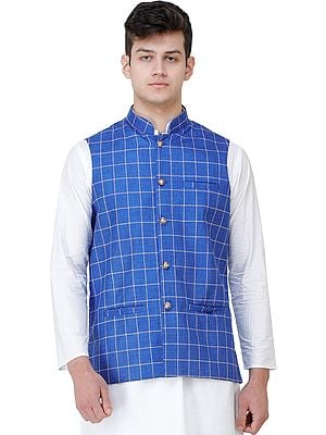 Waistcoat with Single Check Weave and Front Pockets