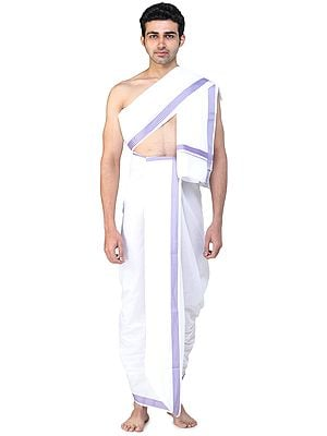 Plain Dhoti and Angavastram Set with Multicolored Thread Woven Border
