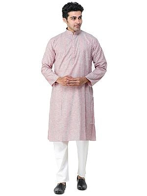 Mauvewood Casual Kurta Pajama Set with Woven Stripes