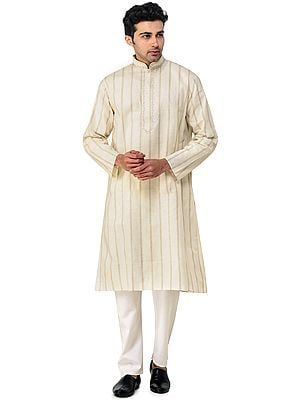 Bleached-Sand Casual Kurta Pajama Set with Woven Stripes and Embroidery