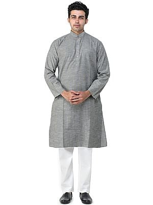 Martini-Olive Casual Kurta Pajama Set with Woven Stripes