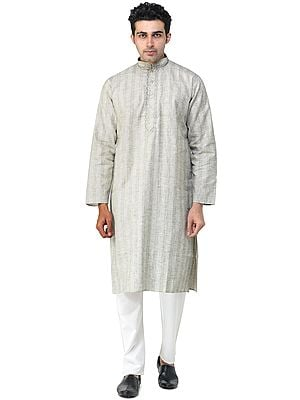 Silver-Birch Casual Kurta Pajama Set with Woven Stripes and Embroidery