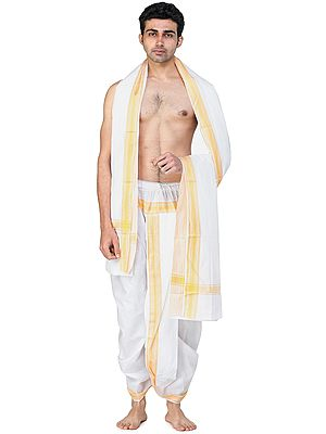 Amber-Yellow Ready to Wear Elasticated Dhoti and Angavastram Set with Woven Border