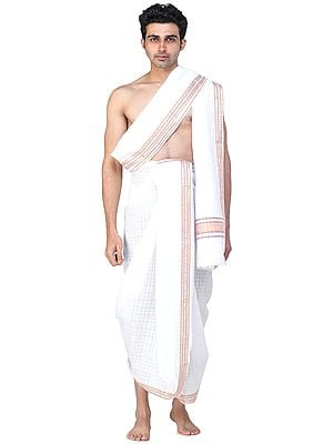 Self-Checks Dhoti and Angavastram Set with Multicolored Thread Woven Border