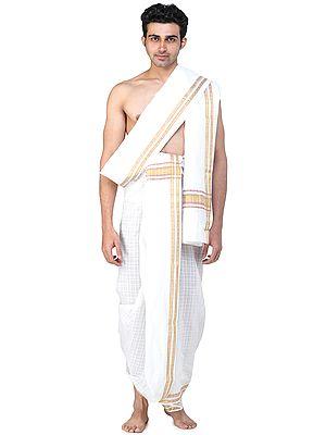 Self-Checks Dhoti and Angavastram Set with Multicolored Thread Woven Border