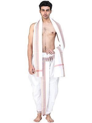Ready to Wear Elasticated Dhoti and Angavastram Set with Multicolored Thread Woven Border