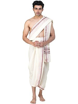 Plain Dhoti and Angavastram Set with Multicolored Thread Woven Stripes on Border