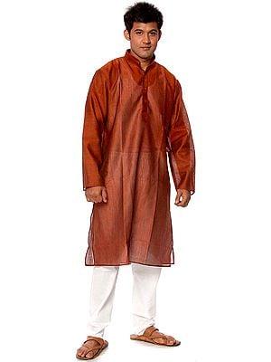 Plain Brown Kurta Pajama