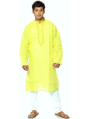 Lime-Green Kurta Pajama with Woven Stripes and Embroidery on Neck