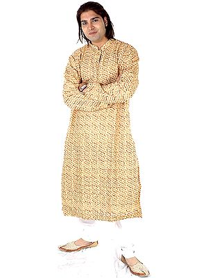 Beige Kurta Set with Multi-Colored Embroidery All-Over