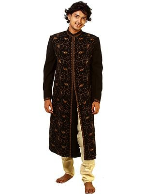 Black Wedding Sherwani with Bead Work and All-Over Thread Embroidery