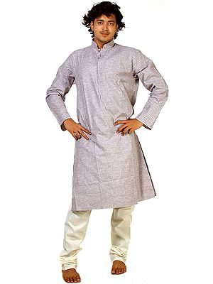 Brownie-Gray Kurta Pajama with Woven Stripes