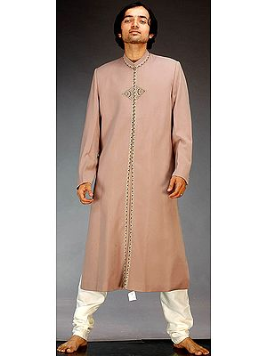 Camel Colored Sherwani with Embroidery on Front