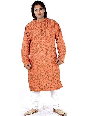 Coral Kurta Set with Chakra Embroidery All-Over