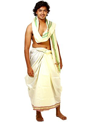 Cream Dhoti and Veshti Set with Golden Thread Weave on Border